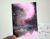 ACEO Original - Aurora Borealis Northern Lights - Floating Islands - Nightscapes 33