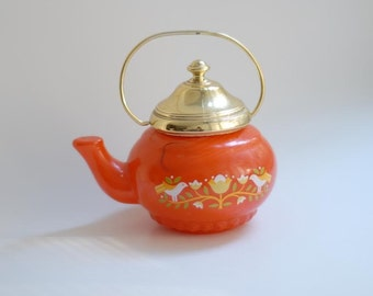 Vintage 1970s Orange Glass Tea Pot with Scandinavian Design -- Perfume Bottle Decanter