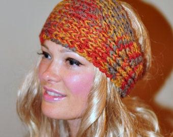 Ear Warmer HEADBAND Earwarmer Headwrap Crochet Knit  Autumn Print Warm Cozy Gray Pumpkin Hat Boho Girly Romantic Gift under 25