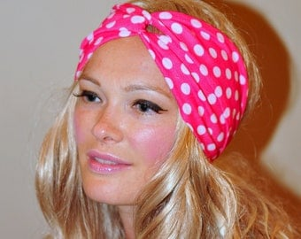 Polka Dot Turban Headband Neon Turban Headwrap Twist Gym Hair Wrap Hot Pink Girly Romantic Gift under 25