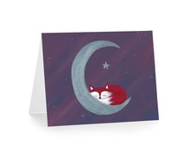 Cute Fox Greeting Card - Fox, Moon, and Stars Card - Whimsical Woodland Blank Notecard - Purple and Red