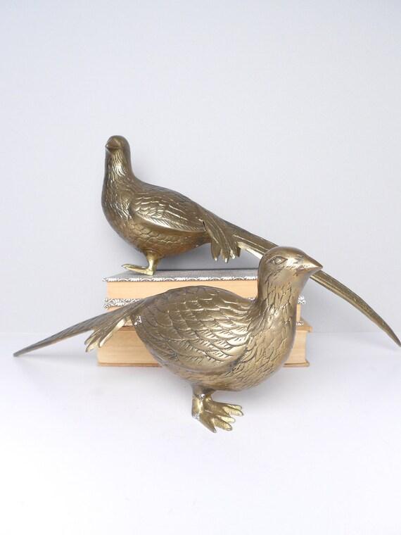 Large Pair of Mid Century Brass Birds 1960s