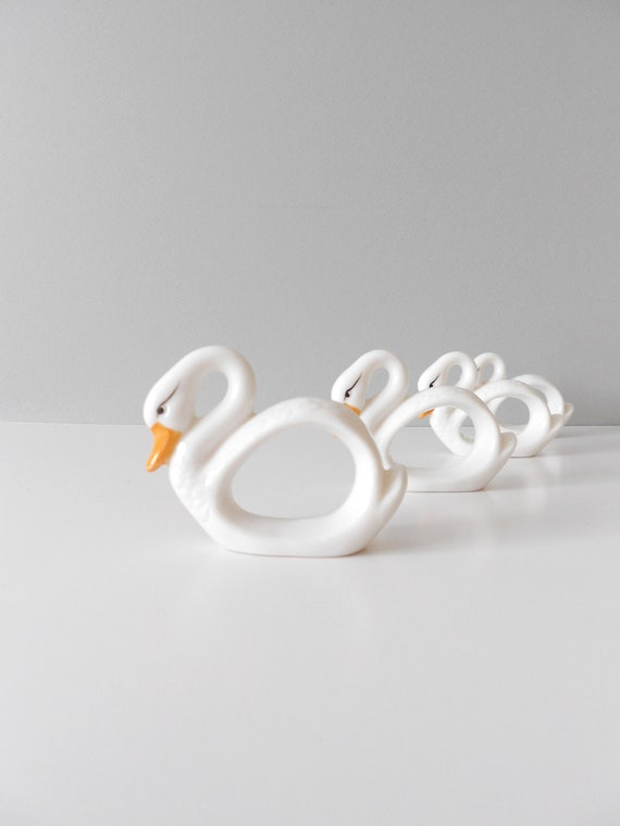 White Porcelain Swan Napkin Rings--Set of 4