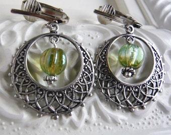 Silver Filigree Hoop Clip On Earrings - Green Czech Glass - Under 20 - Gift For Her
