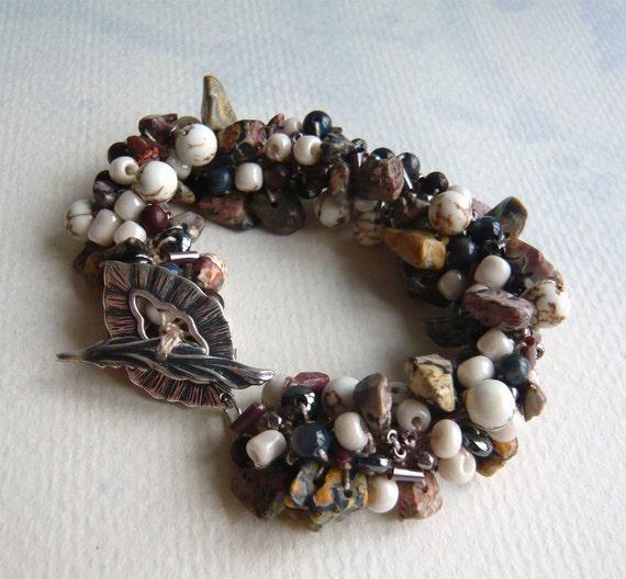 Crocheted Stone and Beads Bracelet - Driftwood - Jasper - Natural Stone Jewelry - Beaded Bracelet