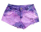 Vintage Re-Worked Purple Tie Dye Distressed Frayed Denim Star Studded Cut Offs Shorts
