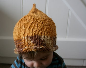 Little Lion - Gnome Baby Hat. Size 6-18 months. Supersoft cotton. Hand-knit.