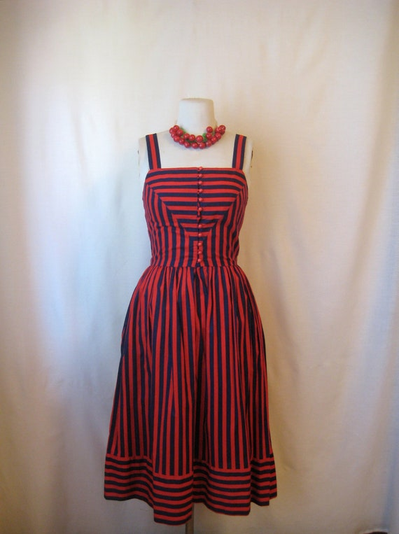 vintage striped dress. nautical 1970s lanz sundress. 40s 50s pin up girl inspired.