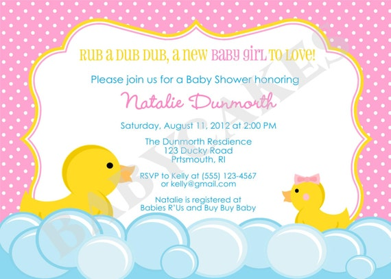 rubber duck baby shower invitation rubber duckie invitation, Baby shower