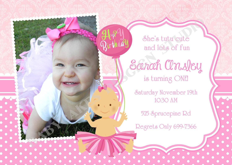 tutu princess 1st birthday party invitation invite by ...