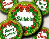 INSTANT DOWNLOAD Editable JPG Cute Christmas Wreath (560) 4x6 Bottle Cap Images Digital Collage Sheet bottlecaps hair bows bottlecap images