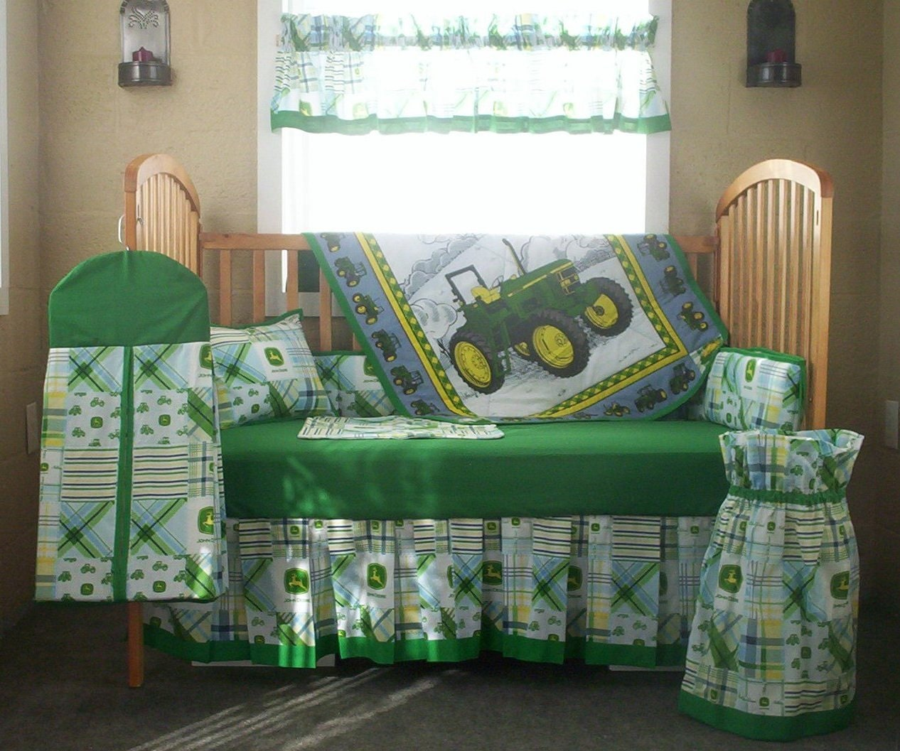 10 Piece John Deere Green Patchwork Plaid Baby Quilt Set