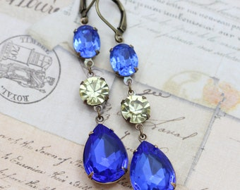 Long Earrings Dangle Earrings Sapphire Earrings Jonquil Bridal Earrings Yellow Blue Earrings Vintage Earring Wedding Clip On Earrings Avail