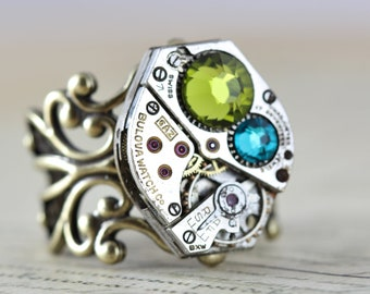 Unique Ring Steampunk Ring Watch Ring Steam Punk Jewelry Green Ring Filigree Ring Clockwork Swarovski  Olivine Blue Zircon Handmade
