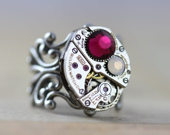 Steampunk Ring Personalized Mothers Ring Birthstone Ring Unique Ring Silver Ring Filigree Ring Watch Ring Pink Ring Grandmothers Ring