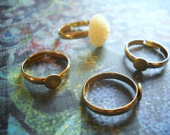 Ring Blanks Gold Brass Adjustable Rings 20 pieces Blank Rings with Pad