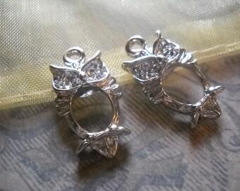 Owl Charms Owl Pendants Shiny Silver Charms Nature Charms Bird Charms Silver Owl Charms Silver Owls Shiny Charms 10 pieces