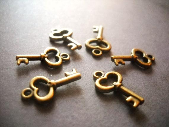 key charms bulk skeleton steunk bronze key