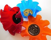 3 Piece Colored Vinyl Recycled Record Bowl Set