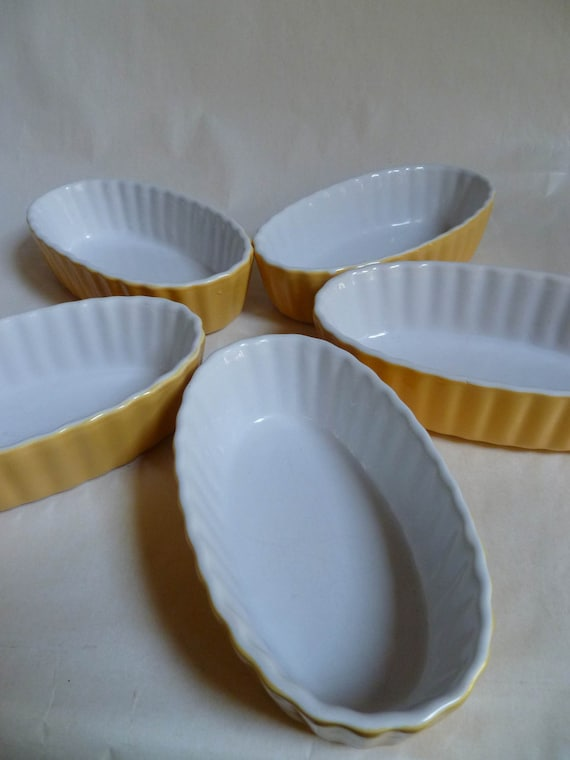 Individual Oval Baking Dishes Sunshine By Rebeccasvgvintage