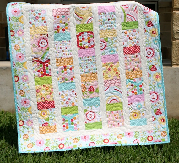 Simply Sweet Baby Girl Quilt Red Blue Aqua Yellow Blanket