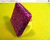 Sale - 20% Off Holographic Pink Square Resin Ring