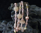 Beaded Memory Wire Bracelet Multi Strand Pink and Cream Wrapped Bracelet