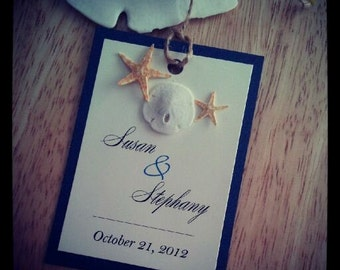 Natural Shells Beach Wedding Program, Favor Tag and Placecard Set