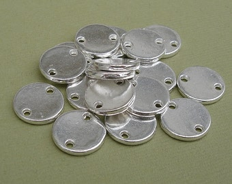 25pcs- Connector Coin Disk  Silver Plated 12mm diam  1.6mm thick.
