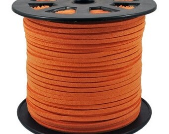 Faux Suede  Cord Lace Leather Cord Flat  Orange 3x1.5mm-20ft