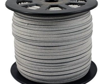 Faux Suede  Cord Lace Leather Cord Flat Silver Gray 3x1.5mm-20ft