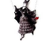 Victorian Vampire Bat Necklace Black White Statement Gothic Jewelry Whimsical Costume Halloween Customize Large Pendant Vintage Wearable Art