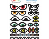 Monster Eyes Sticker Sheet : Customize Everyday Objects into Kaiju // Playful Kids Toys Fun Party Favor Cupcake Toppers