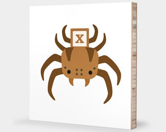 X for Xysticus : ABC Block Bamboo Wall Art Series // Alphabet Kids Wall Art Nursery Room Decor Animal Art Spider