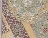 "Silk Obi piece vintage fabric lined gold thread woven floral rich design 48"" piece"