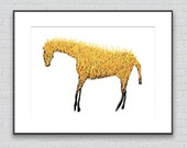 Ghost Horse (Yellow) Drawing - 8 by 10 yellow spiritual nature art - print of pastel painting