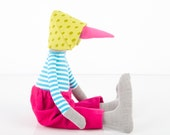 Plush Gray bird  - Wearing striped  turquoise and white shirt Punctuated glow green hat and hot  pink corduroy pants - handmade fabric doll