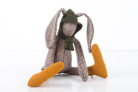 Easter Bunny - Small knitted silk rabbit Wearing Dark green wool Hood and Golden Copper socks - timohandmade Eco Stuffed Doll