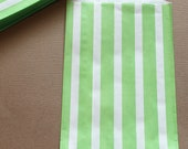 Candy Bags 20 Lime Green Striped Favor Bag Buffet Kids Birthday Party Wedding Baby Shower Favors Circus Carnival Popcorn W/ straw flags