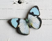 Butterfly Brooch ... Vintage Botanical Moth Pin Duck Egg Blue