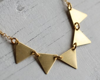 Bunting Necklace... Vintage Brass Gold Geometric Pendant