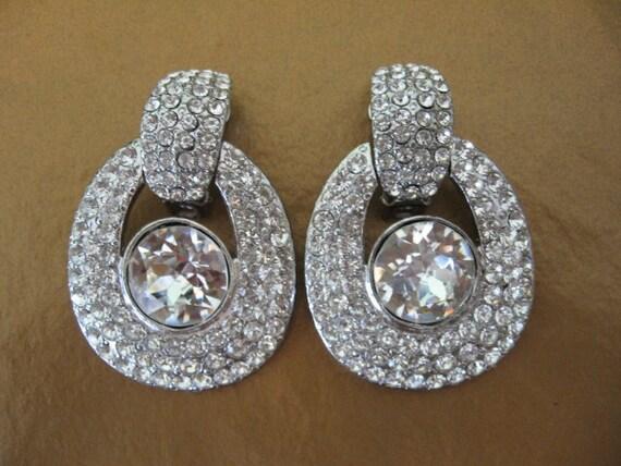 Vintage Rhinestone Earrings -  AVERIL Large Statement Rhinestone Earrings Door Knockers
