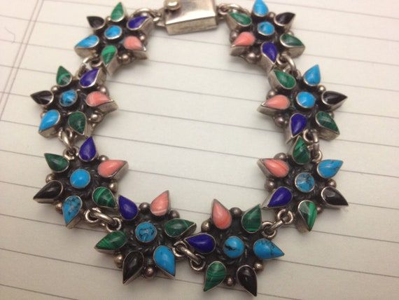 PAYMENT 2 OF 2 Sterling Bracelet with Turquoise, Lapis, Onyx, Malachite, and Coral Floral Design