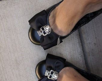 Olivia Paige - Black satin Bows Sugar skulls tattoo shoe Clips punk rock