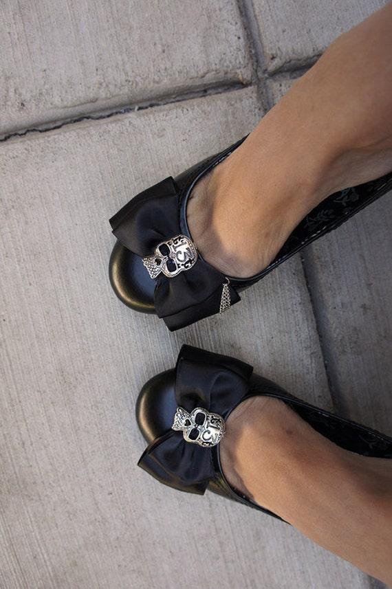 Olivia Paige - Black satin Bows Sugar skulls tattoo shoe Clips punk rock