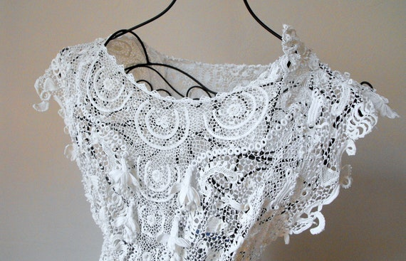 RESERVED FOR TANYA Lacy French Vintage Irish Crochet Tunic 1920s or 30s for Wedding