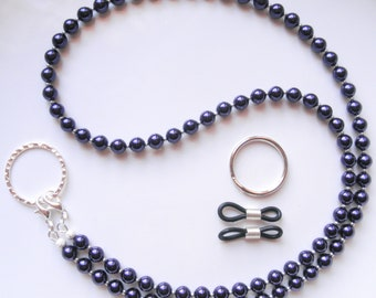 Purple Swarovski Pearl Convertible Eyeglass Lanyard Chain Necklace - Avail in Lavender Also, Glasses Chain, Pearl Lanyard, ID Badge Lanyard
