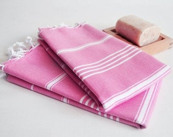 SALE 50 OFF/ SET 2 Towels / Head and Hand Towel / Classic Style / Pink - White striped