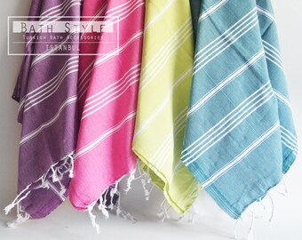 SALE 50 OFF / SET 4 / Turkish Beach Bath Towel / Classic Peshtemal / Pink - Purple - Oil Green - Teal Green