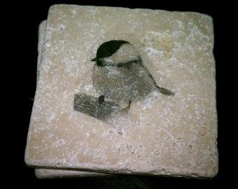 "Tile Coasters, Chickadee, 4"" x 4"" Tumbled Stone Bird Drink Coasters, set of 4"